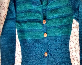 100% alpaca jacket (blue) with forest green silk-blend inserts, size M/L
