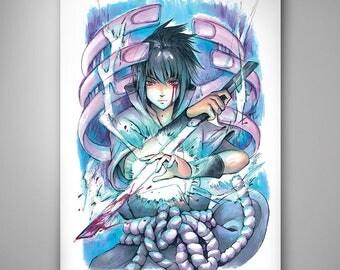 Naruto - Sasuke// Art Print// Illustration
