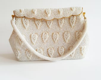Vintage Cream and Ivory Beaded Evening Shoulder Bag, Evening Clutch, Hand Beaded Made in Hong Kong, Evening Purse