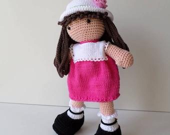 Crochet la muñeca, muñeca amigurumi muñeca, hecha a mano por mi
