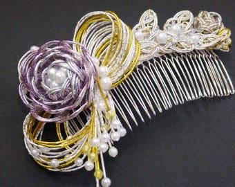 Mizuhiki bridal comb