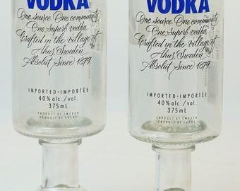 Re-purposed Absolut Vodka Bottle Goblets Drinking Glasses Set Of 2