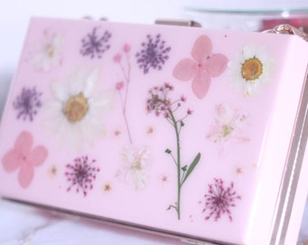 Pressed flowers clutch bags purse bridesmaid gift girlfriend gift birthday gift