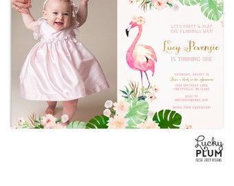 Flamingo Birthday Invitation / Luau Birthday Invitation / Tropical Birthday Invitation / First Birthday Invitation / Floral Hawaii FG01