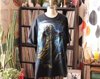 vtg hesher metalhead grim reaper skeleton t-shirt . mens unisex 1x 2x