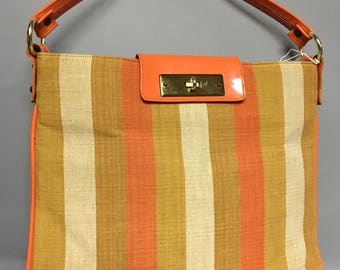 Striped MOD 60s LINEN and Patent LEATHER Purse, Boho Hipster Bag, Stylish Vintage 1970s Twiggy Purse