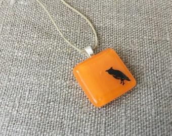 Owl Pendant Glass Jewelry Necklace of Fused Glass by Happy Owl - Woodland animal bird owl black orange halloween cute kids jewelry