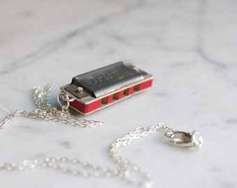 Antique Miniature Harmonica Necklace Orion Japan Mini Working Musical Instrument