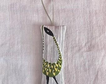 Vintage Fabric Lavender Sachet -  Mid Century Birds