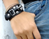 XL Black Leather Cuff with Vintage Key - Black Leather Steampunk Cuff Bracelet - Large to Extra Large