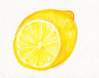 Lemon Watercolor Painting Lemon Painting Artwork Original Lemon Wall Art Lemon Illustration