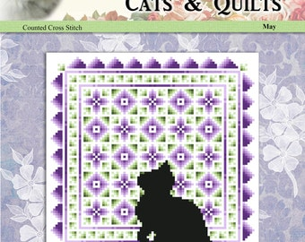 Cats And Quilts May Original Counted Cross Stitch Pattern by Pamela Kellogg