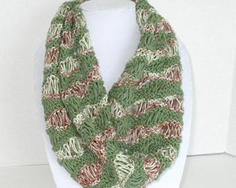 Wavy Lace Scarf, Green and Brown Cotton Cowl, Lacey Circle Scarf