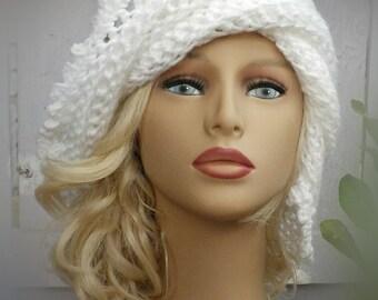 Womens Crochet Hat Womens Hat Trendy,  Steampunk Hat,  Lisa Picot Crochet Beanie Hat,  White Hat,  Crochet Hat