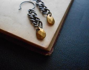 elemental - semi matte gold oxidized faceted drop earrings - indie jewelry