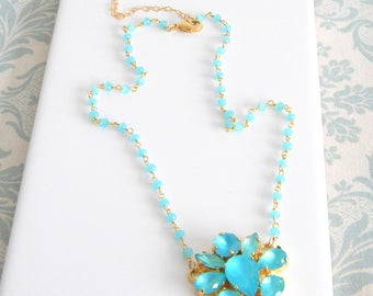 Aqua Blue Chalcedony Rosary Necklace