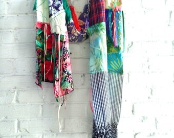 Long boho scarf  hand made scarf patchwork bohemian scarf festival clothing trendy boho gift unisex chabby chic scarf
