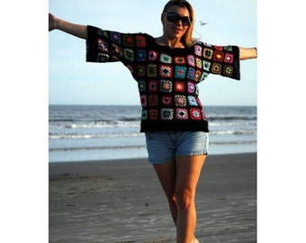 Unique crochet Sweater with Granny Squares Loose Knit Top Hippie Festival Boho Sweaters for Women Crochet Top Bohemian Hippie Rainbow