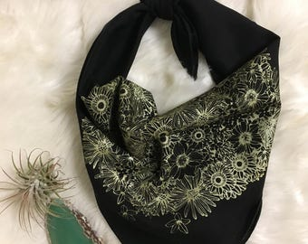Native Floral Bandana in Black and Gold