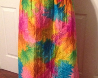 Alex Coleman MOD Hippie Chic Vintage Quilted Tye-Dyed Long Skirt