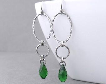 Dark Green Earrings Long Silver Earrings Sterling Silver Dangle Earrings Unique Handmade Jewelry - Adorned Aubrey