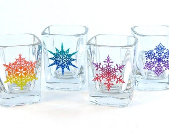 Snowflake Prism Shot Glasses - Set of 4 - Etched and Painted Glassware - Custom Made to Order