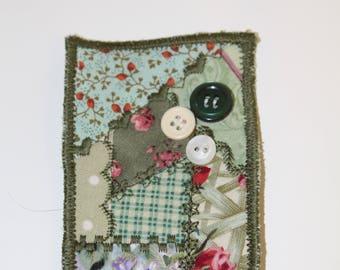 Crazy Quilt Fabric ACEO, fiber art, mini quiltie, crazy quiltie, fabric, mini quilt, green, embroidered