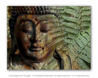 Green and Brown Fern Buddha Art Canvas - Convergence of Thought Zen Giclee Print - by Buddha Artist Christopher Beikmann