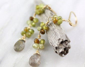Labradorite and Grossular Garnet Gold Wrapped Long Earrings