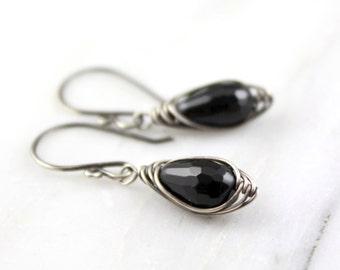 Wrapped Onyx Drop Earrings Oxidized Silver