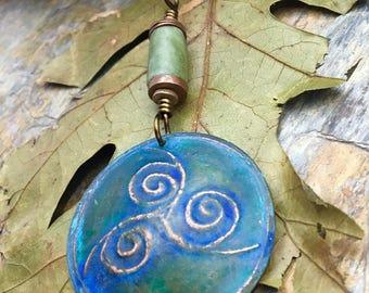 Copper Triskele Pendant, Triple Spiral, Connemara Marble, Triskelion, Celtic Jewelry, Druid Jewelry, Copper Patina, Pagan Jewelry, Spirals