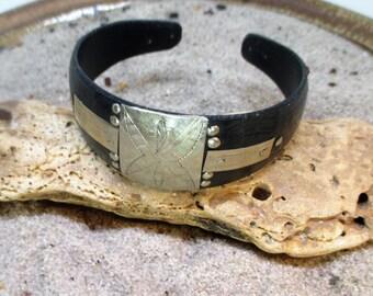 Ebony Wood and Silver Star Pattern Bracelet Cuff