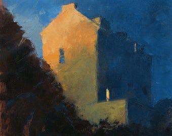Night Lights no 1, cityscape, oil painting