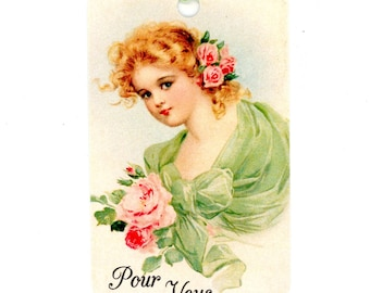 Young Lady Gift Tags , Vintage Pour Vous Tag , Pink and green Tag , Pink Roses , Victorian Tag , Bluebird Lane Tags , Cottage Style , French