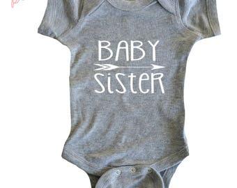 Baby sister shirt bodysuit Little Sister Shirt Baby Girl Shirt New Sister