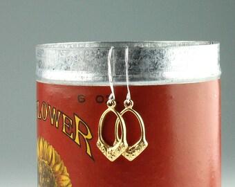 Sterling Silver Vintage Brass Dangle Earrings, Vintage brass flower dangle earrings