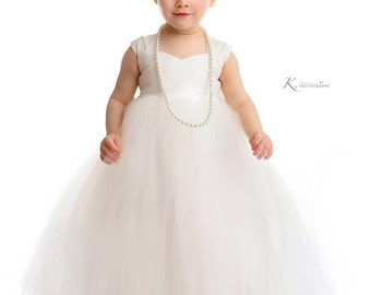 As Seen on Etsy Finds, Brides.com, Stylemepretty Flower Girl Dress, Ivory dresses, tutu dress, tulle dress, ankle length, frock, ivory white