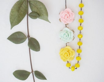 Statement Necklace Flower Necklace Pink Necklace Yellow Necklace Mint Necklace Bridesmaid Jewelry Bridesmaid Gift Spring Jewelry Gift Set