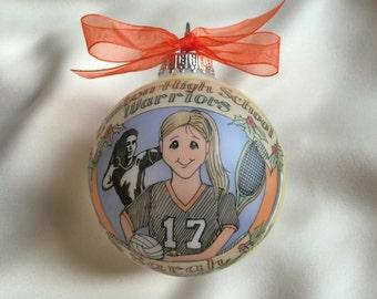 "Girl ""Sports Nut"" Athlete,  Super-Jock, Original Handpainted Personalized Ornament"