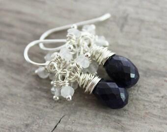 Dark Blue Sapphire Earrings, Sapphire Gemstone Earrings, Gemstone Teardrop Earrings, Rainbow Moonstone Earrings, Sterling Silver Earrings