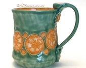 Ceramic Mug Stoneware Orange Slices on Jade Celadon Handmade Whimsical Wheel Thrown Made to Order MG0067