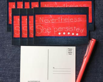 Nevertheless She Persisted Political Postcards Resistance Postcards
