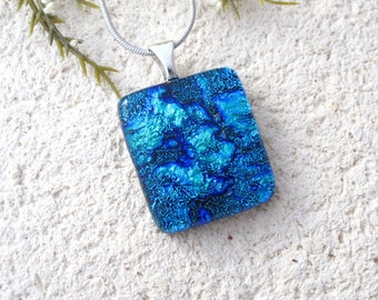 Tiny Petite Blue Necklace, Blue Necklace, Dichroic Necklace, Fused Glass Jewelry, Dichroic Jewelry, Silver Necklace Included, 071816p102