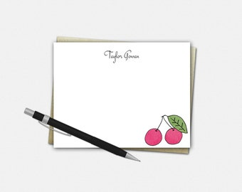 Personalized Cherry Note Cards, Cherry Note Cards, Personalized Flat Note Cards, Cherry Stationery