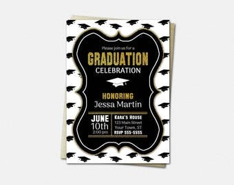 Black White & Gold Graduation Cap Invitations - PRINTABLE High School or College Graduation Party Invitation | glitter diy invites