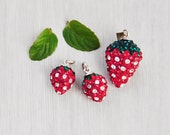 3 Rhinestone Strawberries - pave crystal fruit pendant and charms with 925 sterling silver tops - jewelry making supplies
