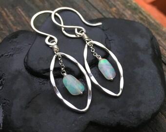 Genuine Opal Gemstone Sterling Silver Dangle Earrings, October Birhstone, Fiery Welo Opal Nuggets, Handmade Jewelry, Bright Fire, Wire Wrap