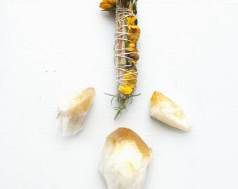 Ceremonial Smudge Stick//Yellow roses//blue sage//rosemary//palo santo//Sweetgrass/Wedding ceremony/Citrine + Aventurine/Love & Abundance