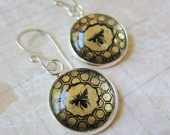Prism Collection - Honey In The Comb - Petite Bee Earrings