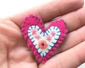 felt heart pin, Valentine's Day gift, heart brooch, felt embroidery, embroidered brooch, felt heart, Valentine day pin, felt accessories